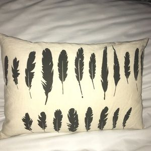 Feather accent pillow